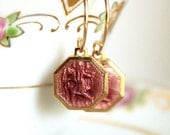 Saint Christopher Earrings - Vintage Lavender Pink Enameled Charms - Tiny Vintage French Charms -  Gift for Her - Gold Filled