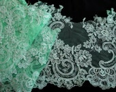 """USA Supplier 1 or 3 Yards of 12"""" (30.5 cm) Wide Mint Green Appliqued Alencon Tulle Lace with Cord Embroidery for Wedding Dress Veil XRC"""
