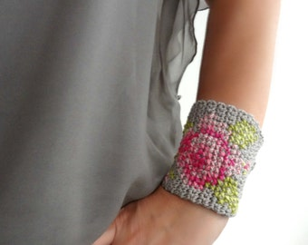 Bohemian Crochet Bracelet-faux tapestry crochet,cross-stitch rose,statement bracelet,rose bracelet,