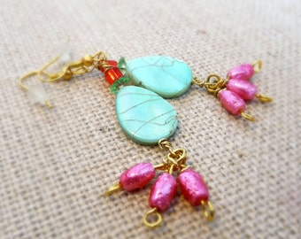 Pink and Turquoise Shell Bead Earrings, Gold Plated Earrings, Swarovski Crystal Beads