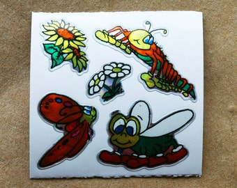Caterpillar & Flowers Prism Vintage Stickers