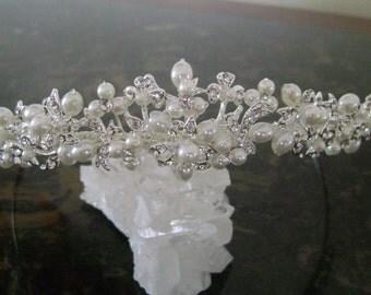 Rhinestone & Freshwater Bridal Tiara, Freshwater Pear and Rhinestone Wedding Headpiece, Wedding Hair Accessory, Bridal Hair Jewerly