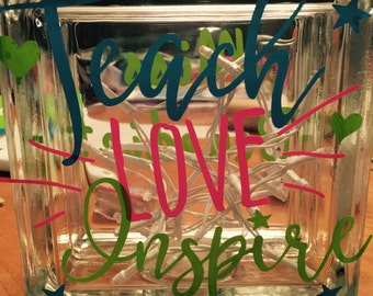 Personalized monogrammed glass block. Teacher