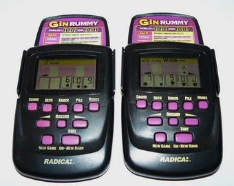 Radica Pocket Gin Rummy Hand-Held Electronic LCD Game – Pair of 2