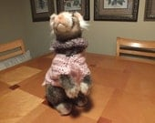 Pet Ferret Sweater Hand Crocheted Pink  XX Small 10 inches long