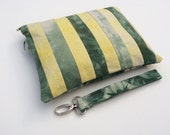 Shibori Waxed Canvas Bag w/ Detachable Handle // Tie-dyed Waxed Canvas // Vegan // Green and yellow w/ Green Zipper