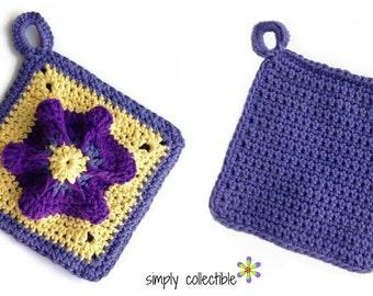 Penelope's Pretty Petunia Potholder flower crochet pattern pdf