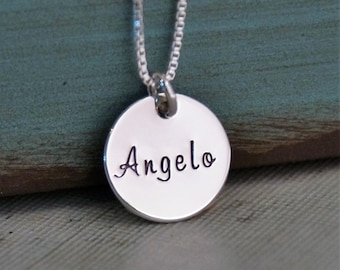 Mini Name Tag / Personalized Necklace / Hand Stamped Mommy Jewelry / Sterling Silver Necklace