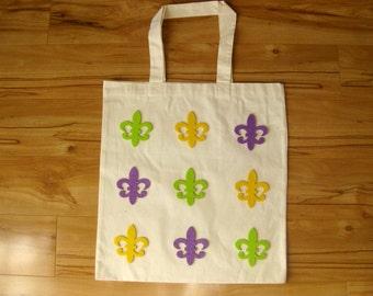 MARDI GRAS Fleur de Lis Canvas Tote Bag in Purple Green Gold- New Orleans Mardi Gras Beads Parade Route Throws Supplies Keepsake Reusable