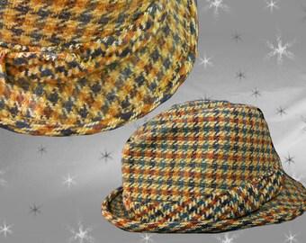 Men's Vintage Hat - 70s Trilby - Houndstooth Wool Fedora - Size 7