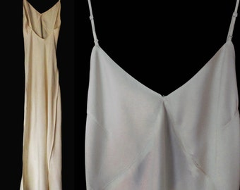 Vintage Silk Formal Length Slip - 30s Ivory Full Length Jean Harlow Style  Slip - Minimal Bridal - S