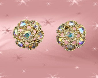 Vintage Rhinestone Clip ons - 1960s Sarah Coventry Clip On Earrings - Aurora Rhinestones - Holiday Sparkle