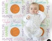 Girl Basketball blanket, personalized gift, basketball photo prop blanket, personalized sports name blanket, blanket