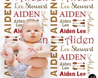 Personalized Baby Gift with Arrows Name Blanket for Baby, personalized name blanket, photo blanket in red and tan or choose colors
