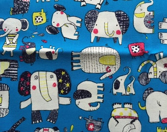 Japanese cotton fabric Elephant printed Half yard skyblue colour
