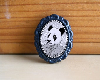 panda brooch - victorian style anthropomorphic animal pin - black and white panda bear