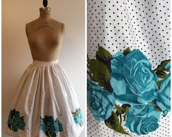 SALE Vintage 1950s Novelty Print Skirt Rose Border Print 50s Bobbie Brooks Blue Roses