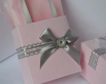 Pink and Silver party favor bags