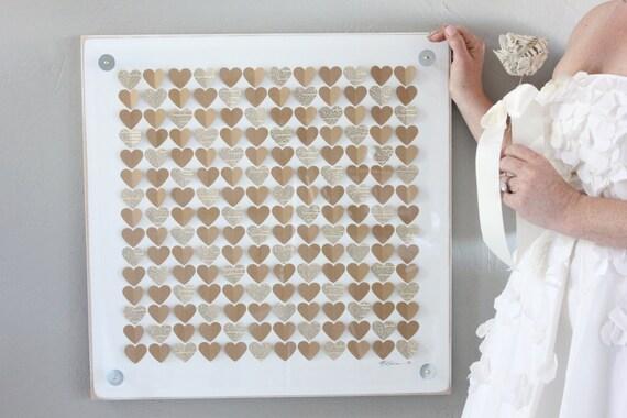 "Unique wedding Guest book  / 3D framed heart guest book alternative / brown kraft paper hearts / 21"" x 21"" frame"