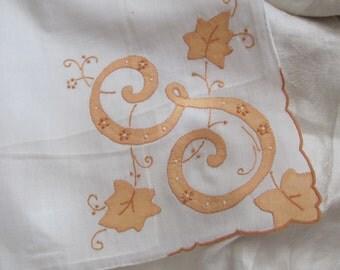 Solid White Cotton Hankie Madeira Monogrammed G - Unused