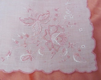 Hankie Vintage Solid White Pink Embroidered Madeira Wedding Hankie