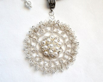 Tatted Lace Pendant Pearl Silver Mandala Fiber Necklace