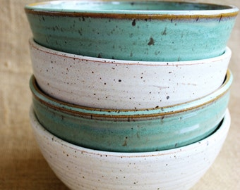Set of 4 large cereal stacking pottery bowls, rustic, stoneware, wheel thrown, ready to ship