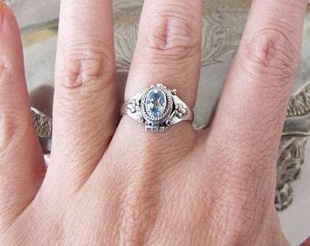 Ornate blue topaz CZ Sterling Silver Poison Ring, Size 6.75