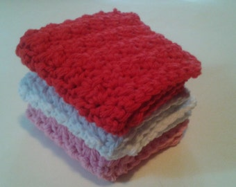 Cloth Pads Reusable, Crocheted Cotton Dishcloths, Washcloths, Set of 3- Red,White and Pink
