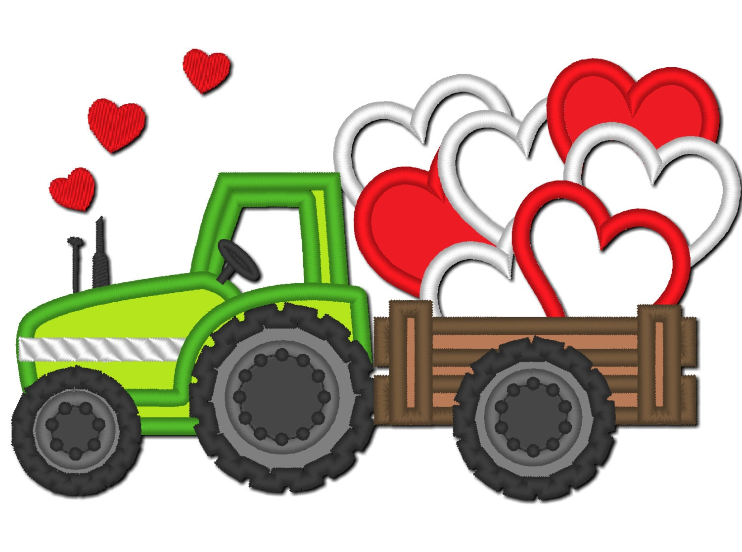 Embroidery Of Tractors : Valentine day tractor love hearts machine embroidery