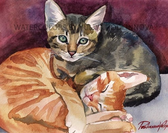 Orange Red Tabby Kittens Printable Cat Picture of Watercolor Painting Instant Download Art Digital Print Image Wall Decor Artwork with Cat