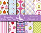 50% off Cupcakes Paper Pack - 10 printable Digital Scrapbooking papers - 12 x12 - 300 DPI