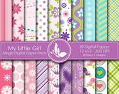 50% off My Little Girl Paper Pack - 20 Printable Digital Scrapbooking papers - 12 x12 - 300 DPI