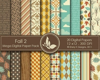 50% Off Fall 2 Paper Pack - 20 Printable Digital papers - 12 x12 - 300 DPI