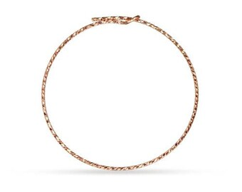 Ear Wire Sparkle Beading Hoop 14Kt Rose Gold Filled 30mm 21ga  - 5 Pairs Wholesale Price (10461)/1