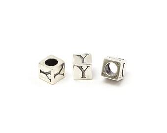 Alphabet Beads Sterling Silver 6mm Alphabet Blocks Y - 1pc (3218)/1