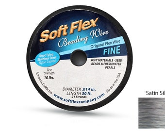 Soft Flex Beading wire 21 strand 0.014 Inch 30ft length - 1spool Original Satin silver color (3562)/1