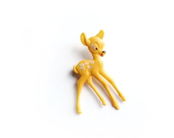 Vintage Bambi Plastic Brooch, Yellow, Disney, Fawn, Brooch Pin
