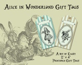 Printable Vintage Style Alice in Wonderland Printable Gift Tags w/ Free Antiqued Backside from Curious London