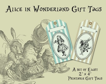 Vintage Style Alice in Wonderland Printable Gift Tags from Curious London