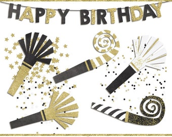 Black and gold  birthday clip art images,  confetti clip art,  party clip art, instant download