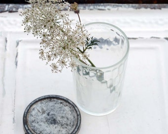 Vintage Glass Jar, Clear Glass Tumbler, Farm House Style, Wildflower Table Decoration For Vintage Style Wedding, Clear Glass Vase