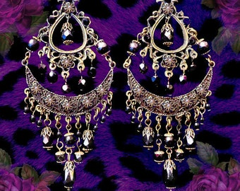 """LAST PAIR! Extra Large Gypsy Chandelier Statement Earrings, Exotic Beaded Turquoise, Black or White, 5"""" Tiered, Clip-On Option, Ethnic"""