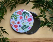 "Botanical Flowers Pocket Mirror 3.5"" - spring flowers flower pattern make up mirror big mirror"
