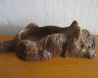 Vintage Syroco Wood Scottie Dog Pipe Holder Caddy