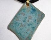 Ceramic necklace, fibre art, gift, black, teal, blue, green, merino wool, clay