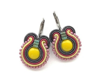 Yellow Earrings Yellow and Pink Earrings Yellow Drop Earrings Soutache Earrings Yellow Dangle Earrings Small Drop Earrings Pink Drop Earring