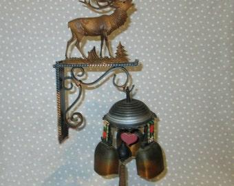 Vintage Swiss Cow Bells Windchimes Wind Chimes Elk German
