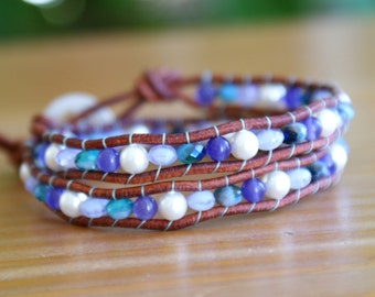Swarovski White Pearl Beaded leather wrap bracelet, Blue Violet Purple, Bohemian, boho chic, gift idea, palm tree, trendy jewelry, hipster