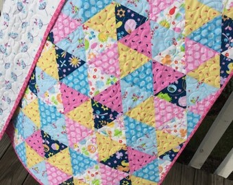 Baby Girl Complete Quilt KIT Riley Blake 'Wildflower Meadow' Fabric DIY Hedgehog Quilt